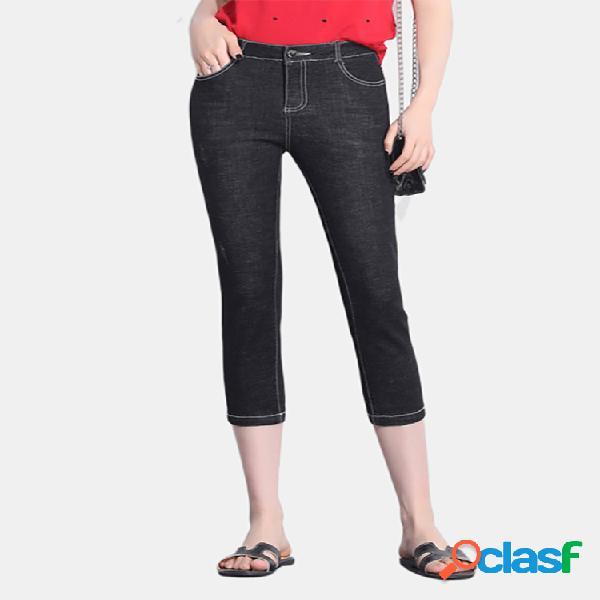 Pantalones vaqueros de cintura alta pantalón de ocho pantalones para mujer nuevos pantalones de siete pantalones pantalones de pies elásticos pequeños y delgados sección delgada ajustada