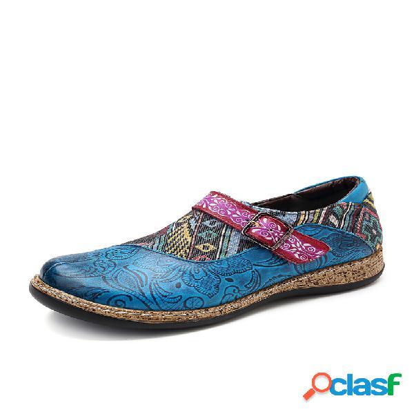 Socofy retro buckle strap piel genuina empalme jacquard patrón soft gancho zapatos planos con cierre de lazo