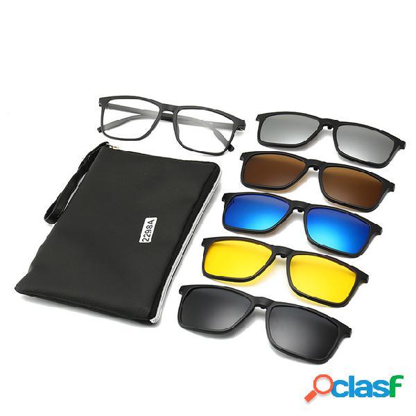 Gafas de sol de miopía de cinco piezas gafas de sol polarizadas con clip espejo redondo grande para mujer