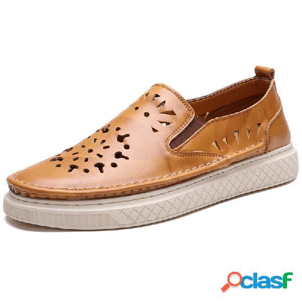 Hombre piel de vacuno hueca soft zapatos planos informales portátiles transpirables