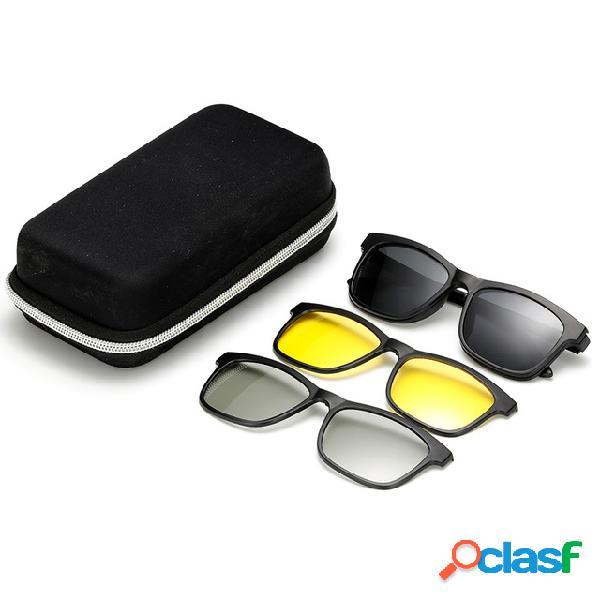 Espejos magnéticos gafas de sol polarizadas tr90 hombres y mujer gafas de visión nocturna para mirar 3d tv gafas