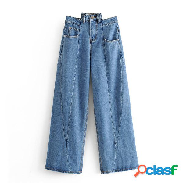 Párrafo para mujer costuras irregulares lavadas jeans pantalones