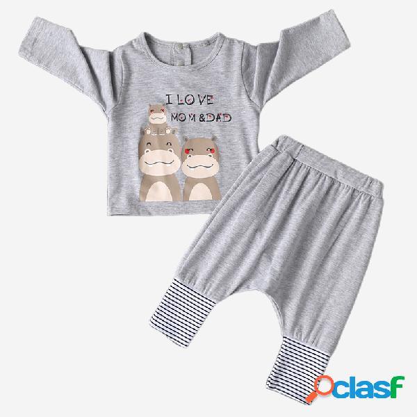 Conjuntos de ropa casual de manga larga con estampado de hipopótamo de bebé para 0-24 m