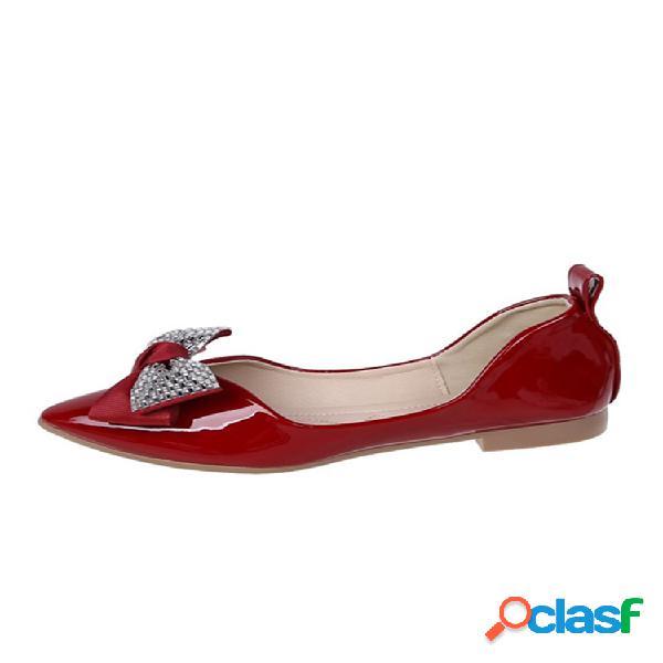 Mujer lazo de diamantes de imitación con punta en punta dec soft zapatos planos elegantes y cómodos