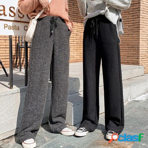 Li yijun con el piso de párrafo pantalones tejido casual pantalones pantalones de trapeador nuevos cintura alta pierna ancha pantalones mujer