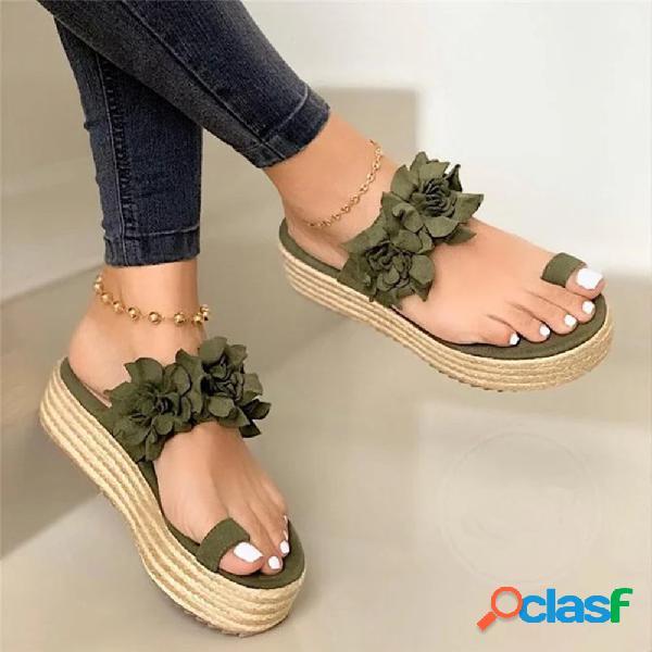 Mujer holiday flowers decor strap toe ring platform zapatillas