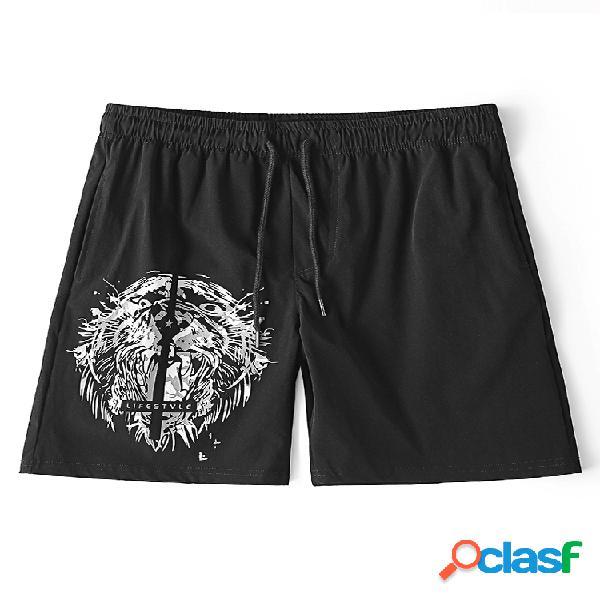 Pantalones cortos de deporte con estampado de tiburón pantalones para hombre, de secado rápido, negro