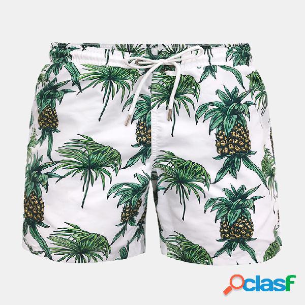 Pantalones cortos para hombre pantalones cortos con estampado de piña cintura elástica pantalones de baño de secado rápido con bolsillo