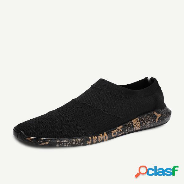 Hombre tejido deportivo cómodo transpirable listo para vestir casual zapatillas sin cordones