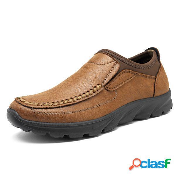 Hombre costura a mano cómodo antideslizante soft zapatos planos casuales con suela