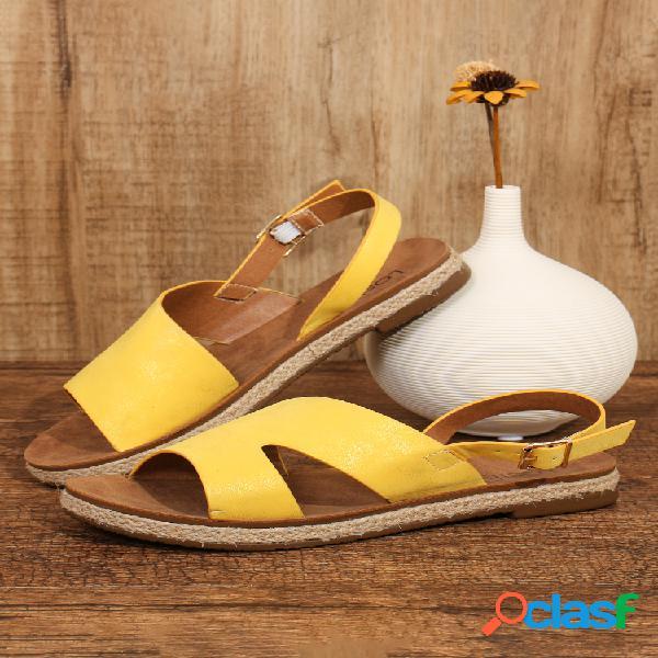 Alpargatas planas con hebilla lateral abierta de color sólido informal para mujer sandalias
