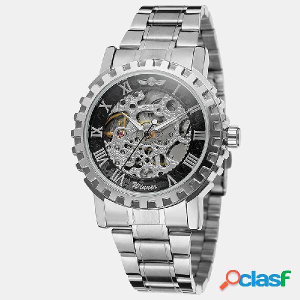 Reloj de lujo para hombre reloj de aleación hueca banda impermeable reloj automático completo mecánico