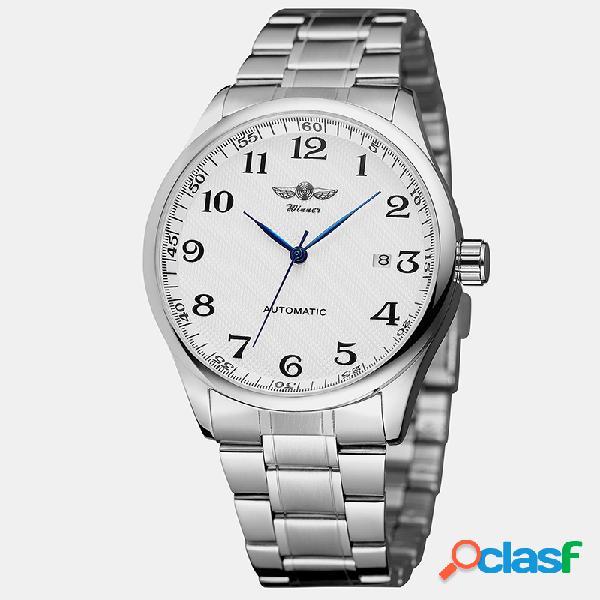 Trendy business men watch aleación banda impermeable reloj automático completo mecánico