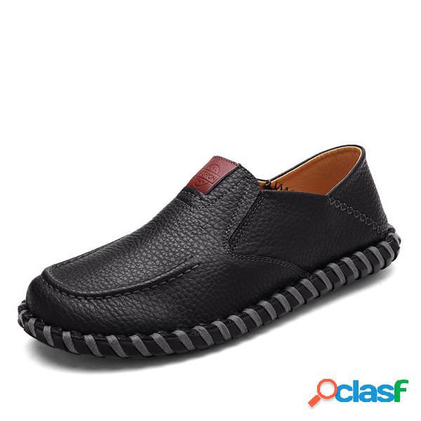 Costura para hombre soft zapatos planos con suela mocasines de conducción informales sin cordones
