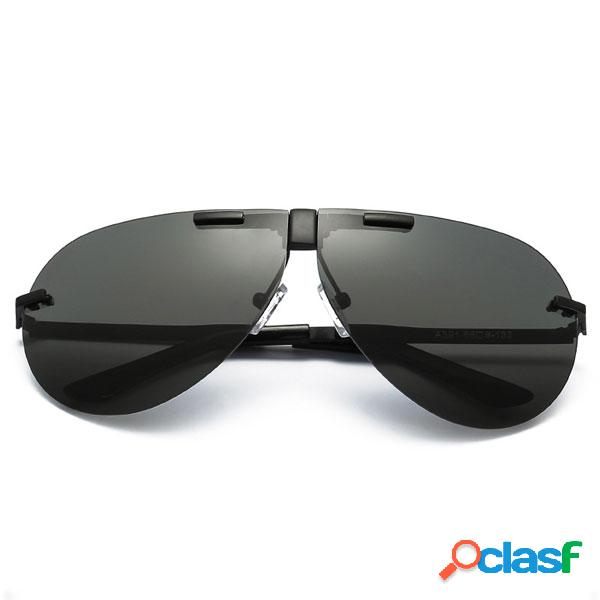 Moda hombres unisex uv400 gafas de sol polarizadas gafas de sol plegable gafas de película de color