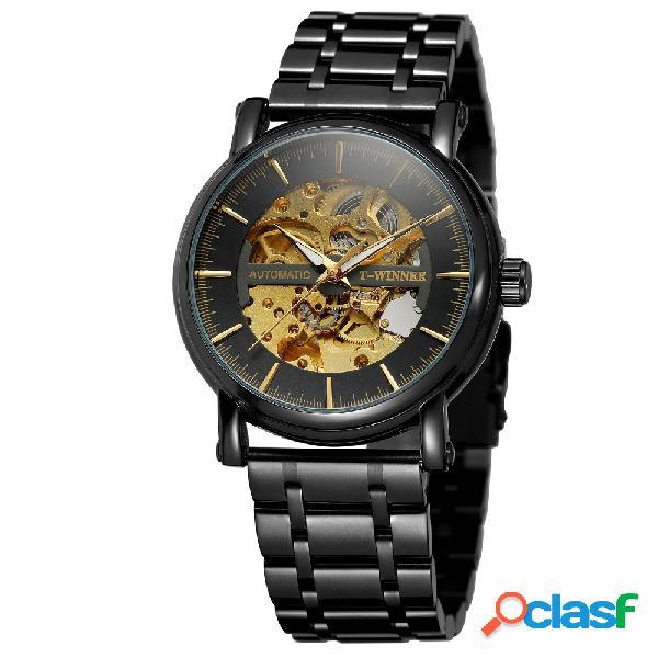 Reloj mecánico de moda de los hombres del acero inoxidable del reloj mecánico de hallow reloj automático de los hombres