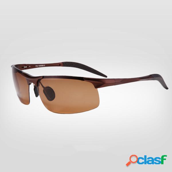 Gafas de sol polarizadas para visión nocturna para hombres marco de aleación al aire libre gafas de conducción deportiva