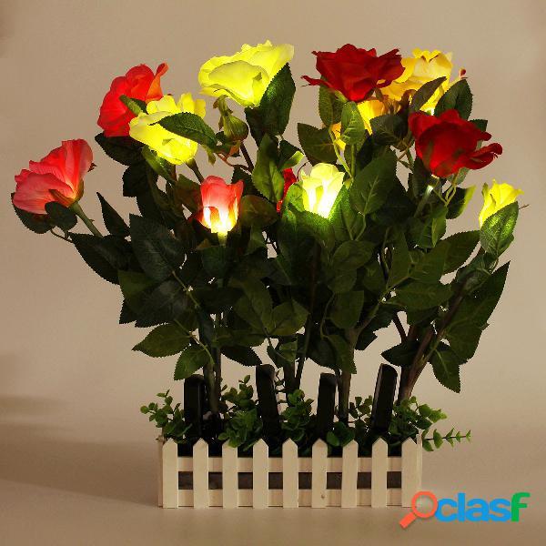 Led solar paneles de energía light rose flower garden party al aire libre noche lámpara