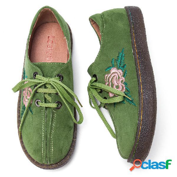 Mujer comfy soft zapatos planos con cordones bordados con flores de gamuza