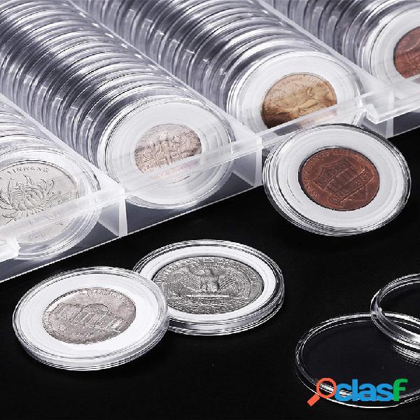 100 piezas 20/25/27/30 mm aplicadas cajas redondas transparentes soporte de cápsulas de almacenamiento de monedas suministros de colección de monedas