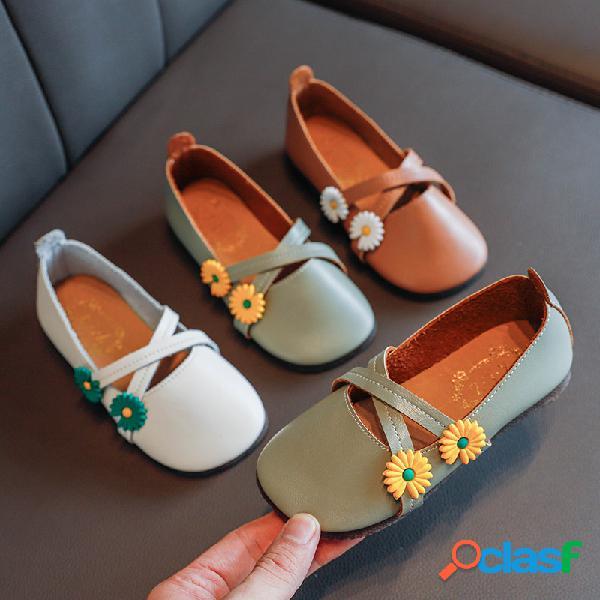 Zapatos bajos con decoración de margaritas y tiras cruzadas para niñas soft zapatos planos de princesa de baile con suela