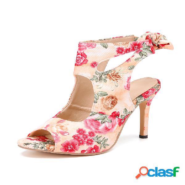 Mujer plus talla fiesta tacón de aguja correa peep toe back lace up sandalias