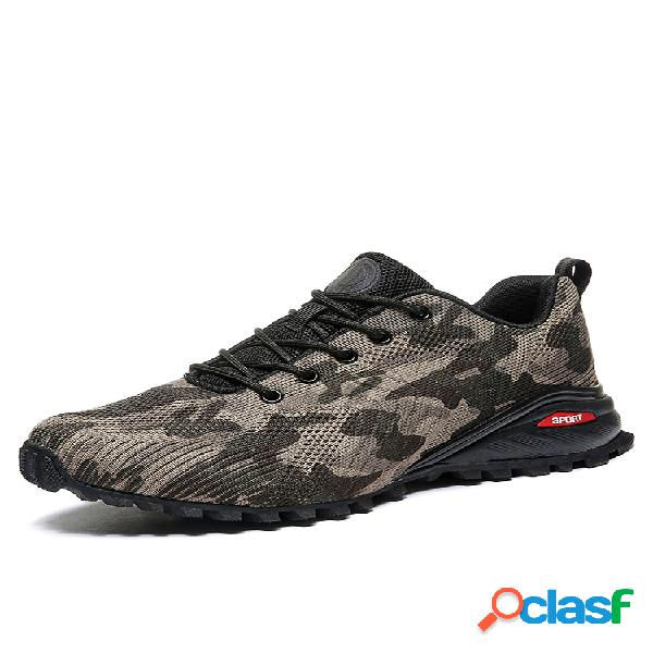 Zapatillas informales antideslizantes de tela de punto de camuflaje para hombre al aire libre