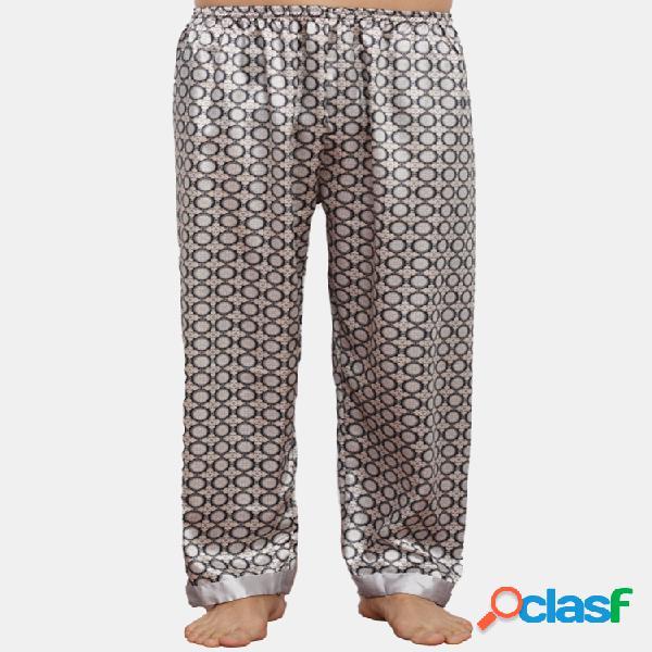 Pijama liso de seda sintética con estampado geométrico pantalones para hombre