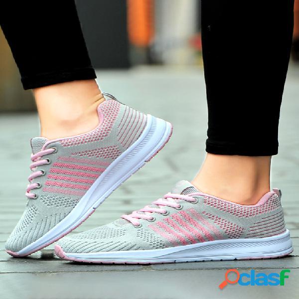 Mujer zapatillas deportivas para correr antideslizantes con cordones y malla a rayas