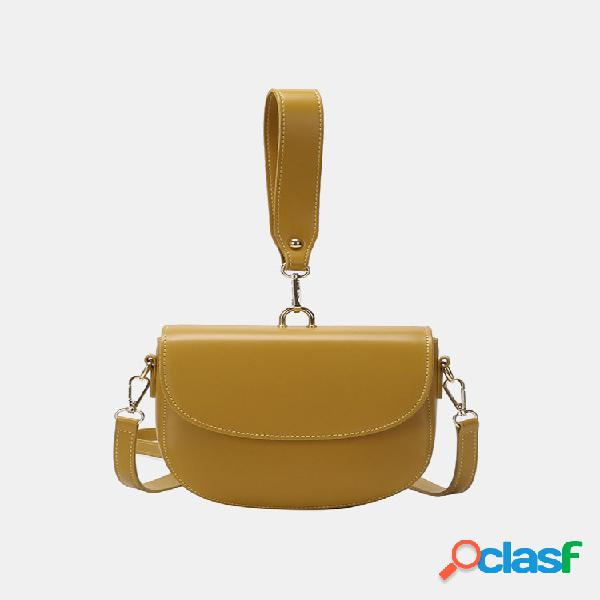 Mujer sillín sólido de forma irregular bolsa satchel shoulder bolsa