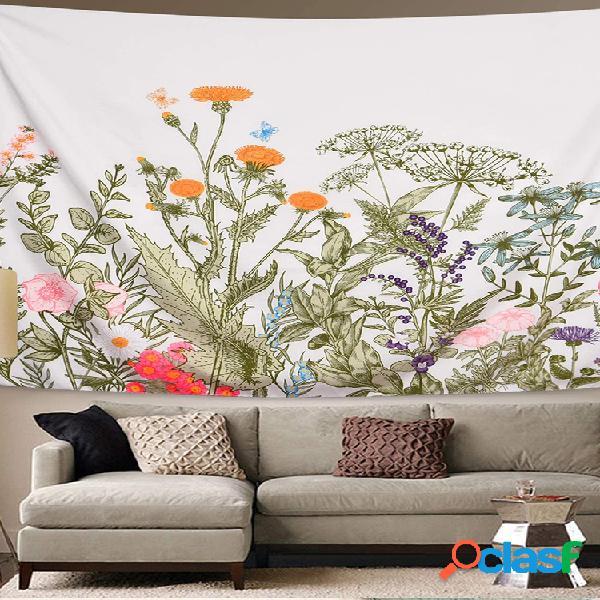 Colorful flor planta tapiz tapiz de hierbas retro tapiz de flores silvestres tapices de pared tapiz de paisaje natural