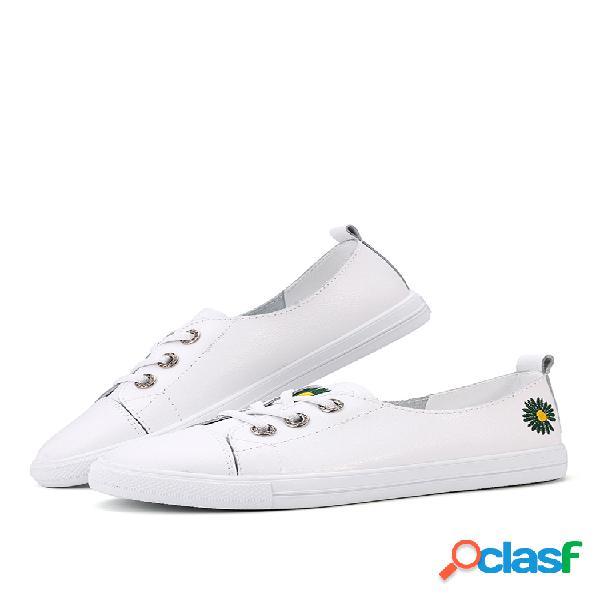 Flowers decor soft zapatos planos blancos con cordones en la parte delantera para mujer