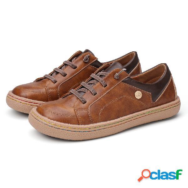 Lostisy retro lace up front soft zapatos planos cómodos con costuras para mujer