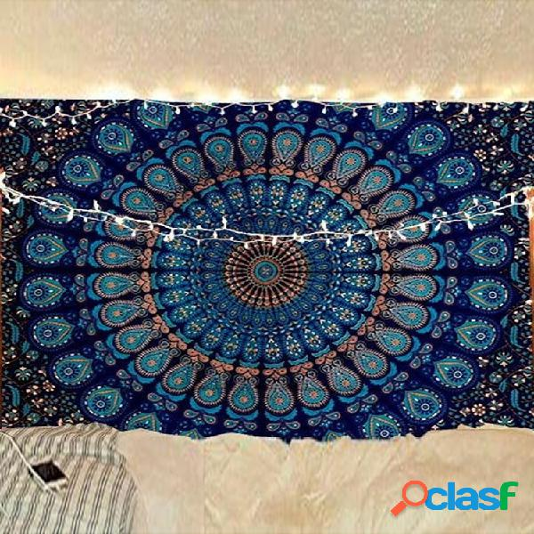 Tapiz colgante impreso indio bohemio psicodélico pavo real mandala colgante de pared tapiz floral para ropa de cama