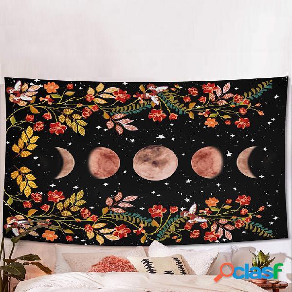 Tapiz psicodélico para colgar en la pared, tapiz de cama de flores, estrellado sky, tapiz de alfombra, accesorios de decoración del hogar para artista
