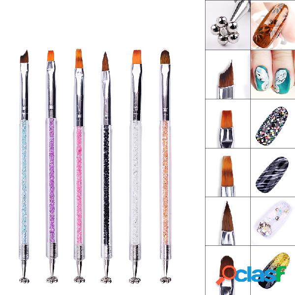 Crystal double head nail brush pincel magnético nail liner impresión nail art brush nail diy belleza