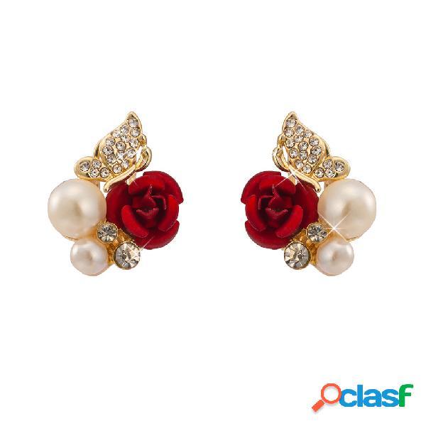 Oro de lujo plateado red rose stud pendientes rhinestones mariposa perla pendientes de regalo para las mujeres