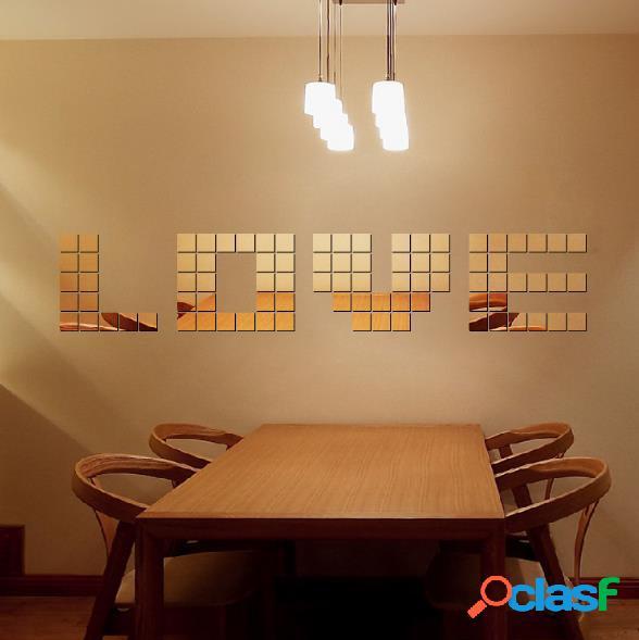 100 pcs square crystal three - dimensional mosaic combinación de espejos creative wall stickers