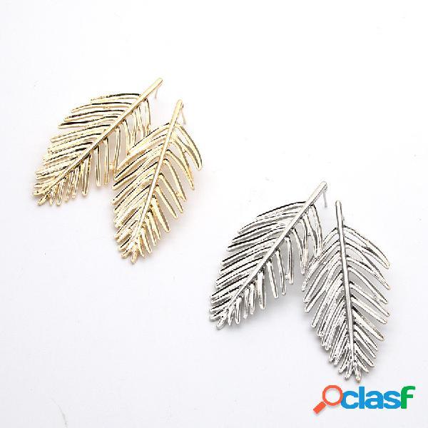 De moda oreja drop leaves silver gold pendientes statement pendientes mujer joyas cuelga largo para mujer