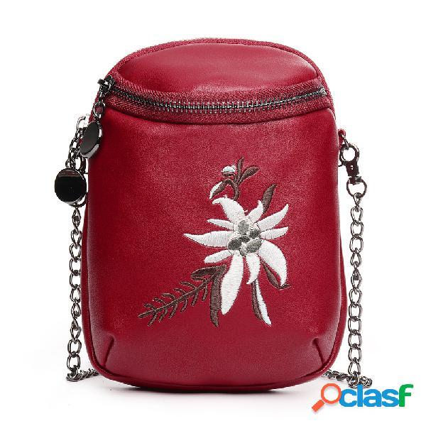 Mujer mini bordado de flores casual pu cuero teléfono bolsa crossbody bolsa