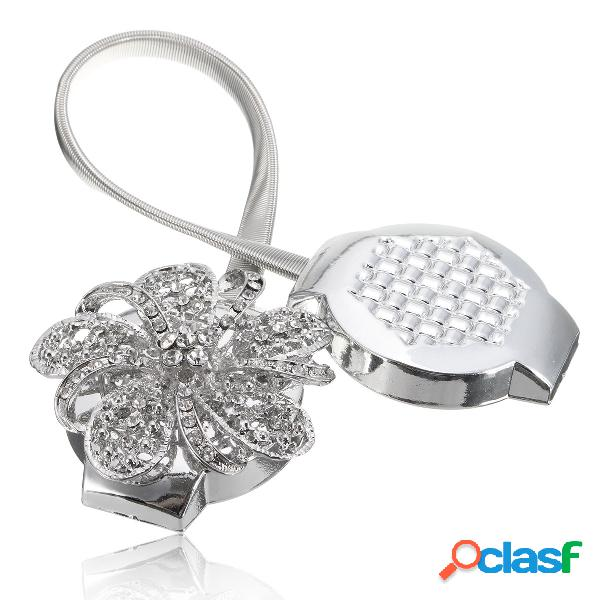 Crystal flower magnetic retractable cortina clips tie backs holdbacks decorarion