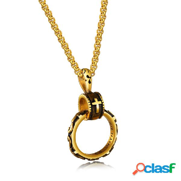 Religión colgante collar eterno círculo cruz cadena encanto collar étnico joyería para hombres