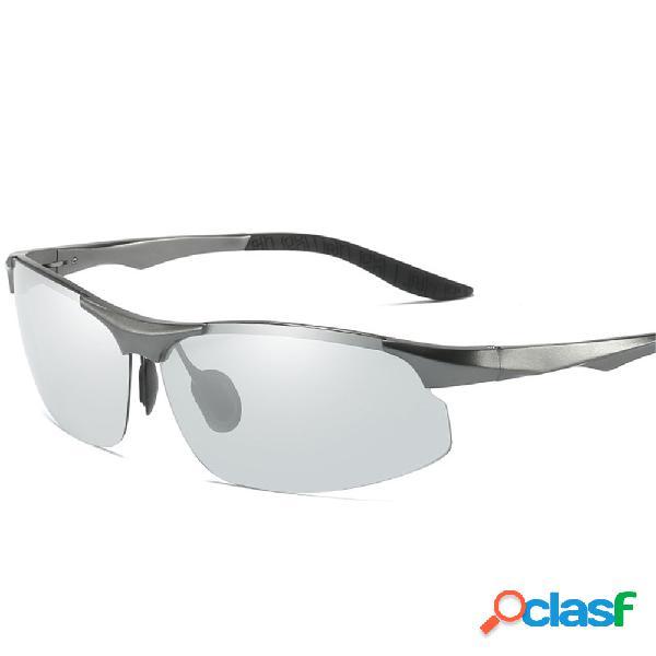 Hombres luz aluminio marco mg piernas de primavera para todo clima colores de giro gafas de sol polarizadas