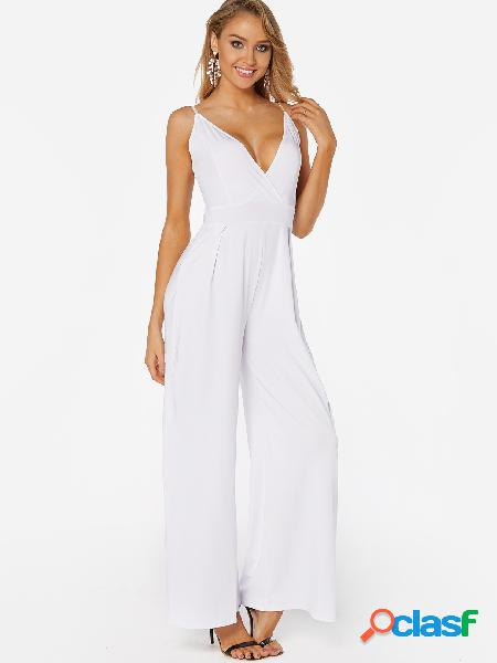 White deep v neck self-tie volver design jumpsuit ancho de pierna