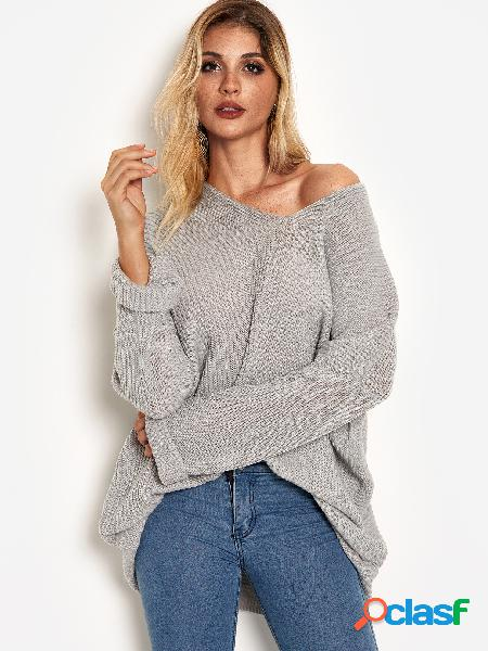 Grey plain deep v neck un hombro mangas largas suéteres