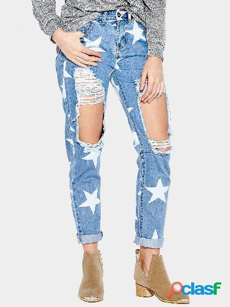 Pantalones vaqueros del novio de la impresión de la estrella con las rodillas extremas rasgadas