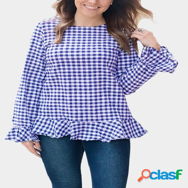 Blue grid round neck long sleeves top