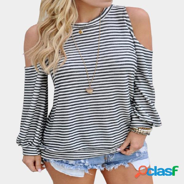 Stripe pattern cold shoulder round neck long sleeves top
