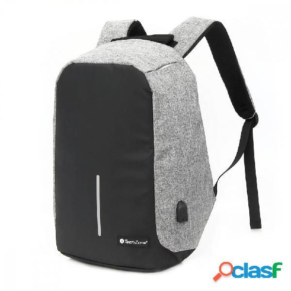 Techzone mochila de poliéster tz18lbp02 para laptop 15.6'', negro/gris