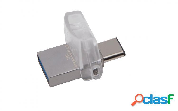 Memoria usb kingston datatraveler microduo 3c, 128gb, usb 3.1/micro usb, lectura 100mb/s, escritura 10mb/s, plata